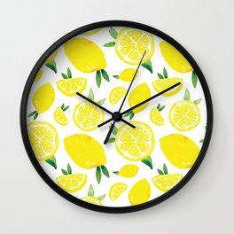 Zesty Lemon Pattern Wall Clock