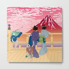 Hokusai People Seeing Red Fuji at Sunset Metal Print