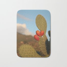 Prickly pears on the background of the setting sun Bath Mat