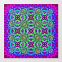 psychedelic art Canvas Prints featuring PSYCHEDELIC flowers by 2sweet4words Designs