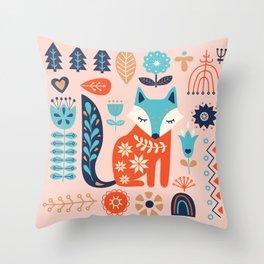 Soft And Sweet Scandinavian Fox Folk Art Throw Pillow