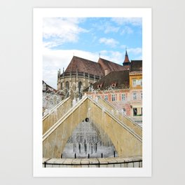 brasov city romania black church landmark architecture and the Council Square fountain Art Print
