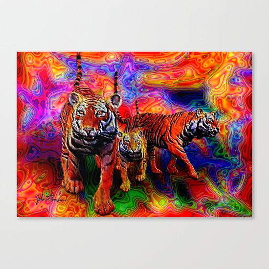 Psychedelic Tigers Canvas Print