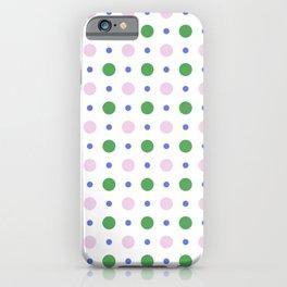 Geometric lavender pink green modern polka dots pattern iPhone Case