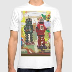Robots MEDIUM White Mens Fitted Tee