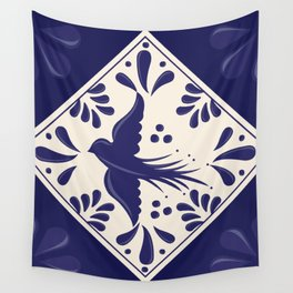 Blue Talavera Tile, Flying Dove by Akbaly Wall Tapestry