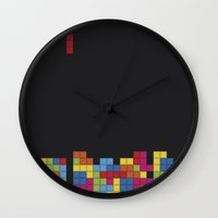 tetris Wall Clocks featuring Tetris by Psocy Shop