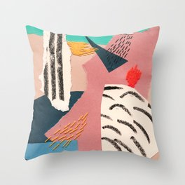 abstract collage with embroidery Throw Pillow