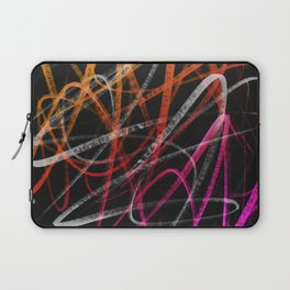Expressive Red Orange and Magenta Lines Abstract - Handstyles Laptop Sleeve