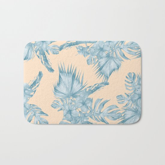 Tropical Flowers and Leaves Blue on Peach Coral Bath Mat