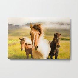Three horses watercolor painting #2 Metal Print
