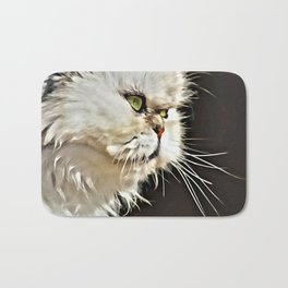 White Persian Cat Bath Mat