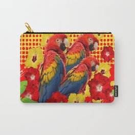 GREEN TROPICAL YELLOW MACAWS & RED YELLOW HIBISCUS Carry-All Pouch
