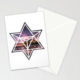 Modern Geometric Beach Sunset Water Reflections Stationery Cards