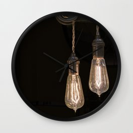 Industrial Vintage Light Bulbs Hanging from Pulleys Wall Clock