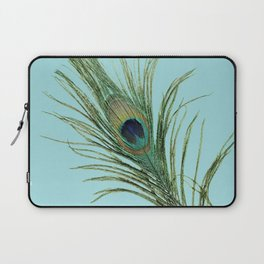 Peacock Feather on Blue Background Laptop Sleeve