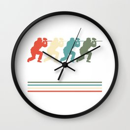 Paintball Players Vintage Retro Paintball Marker Gift Wall Clock