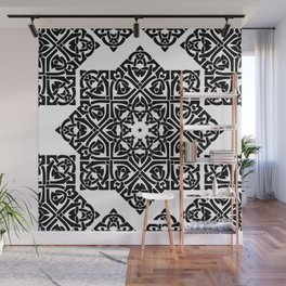 Celtic Knot Ornament Pattern Black and White Wall Mural
