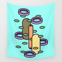 plain Wall Tapestries featuring Hot dog Plain by Jan Luzar