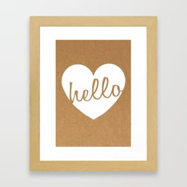 Hello Heart Wall Art #1 Kraft Heart Framed Art Print