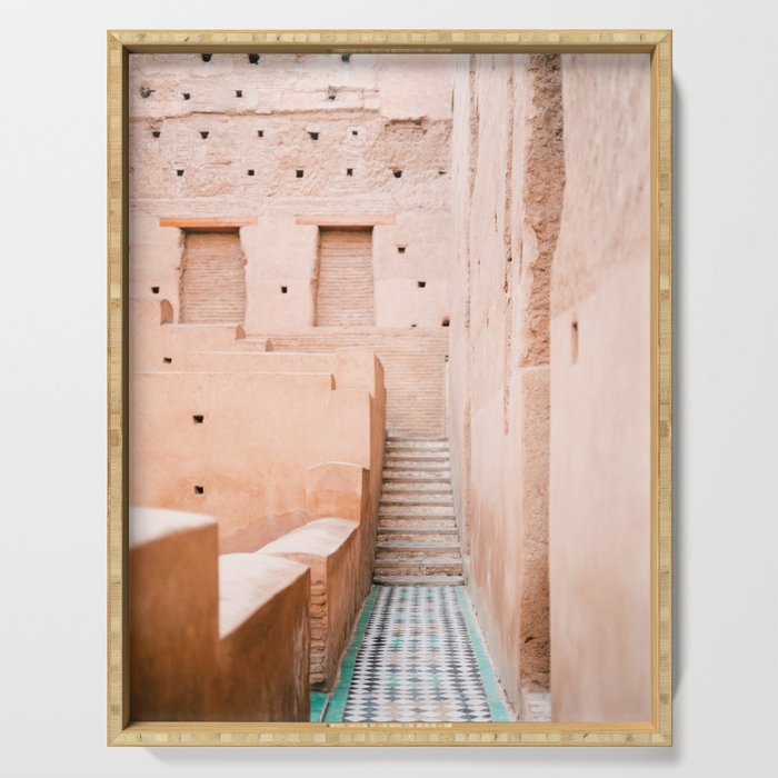 Colors of Marrakech Morocco - El badi palace photo print | Pastel travel photography art Serving Tray
