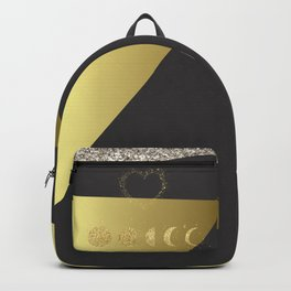 Faux Gold Moon Phases Gold Heart Backpack