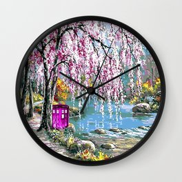 Tardis Art Cherry Blossom River Painting Wall Clock