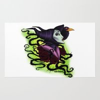maleficent Area & Throw Rugs featuring Maleficent by Katie Simpson a.k.a. Redhead-K