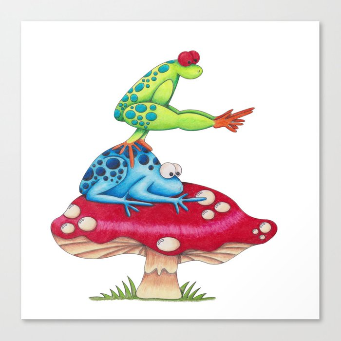 Leap Frog on a Toad Stool!  Canvas Print