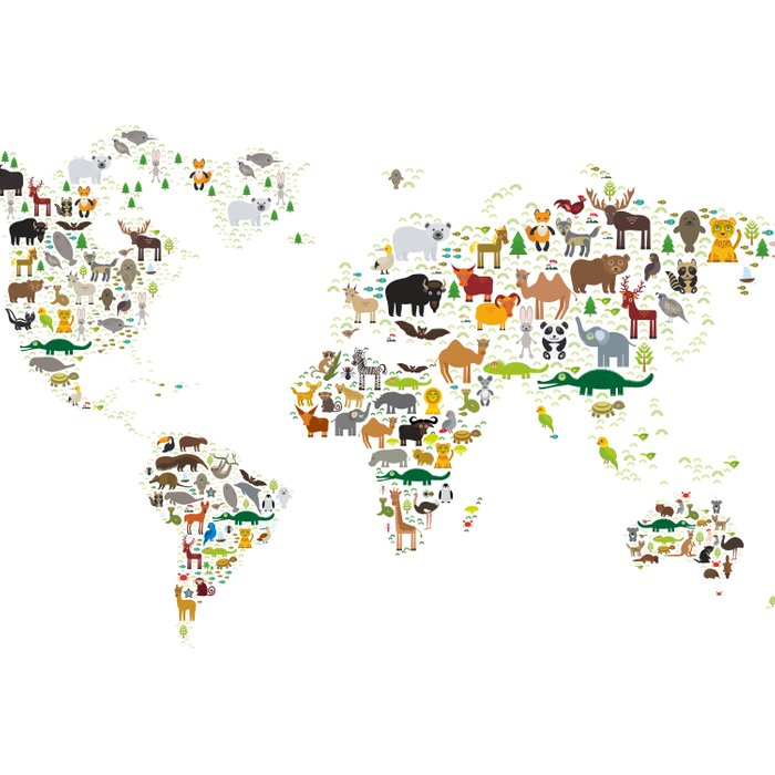 Cartoon animal world map for children and kids, Animals from all over the world on white background Comforters