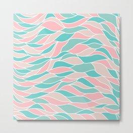 Pastel pink green abstract geometric waves pattern Metal Print
