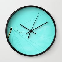 the wire Wall Clocks featuring Wire by Cassia Beck