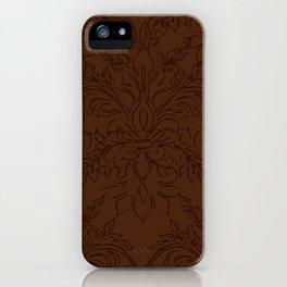 Dark Chocolate Damask Line Work Fleur de Lis Pattern Artwork iPhone Case