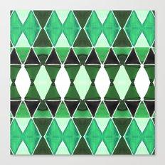 Art Deco Triangles Green Canvas Print