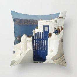 Santorini Gate Throw Pillow