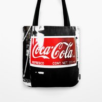 coca cola Tote Bags featuring Coca-Cola Nostalgia by Vorona Photography