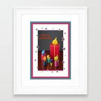 gift card Framed Art Prints featuring Merry Christmas Gift Boxes Holiday Card  by taiche