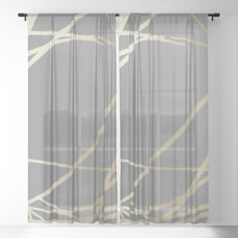 Gold and Gray Circles and Swirls Striped Abstract Pattern Sheer Curtain