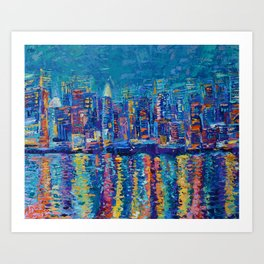 New York - The City That Never Sleeps; Palette Knife City Skyline by Adriana Dziuba Art Print
