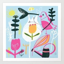 blue birds Art Print