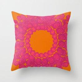 Pink Rose Wreath Throw Pillow