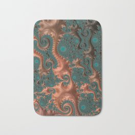 Copper Leaves - Fractal Art Bath Mat