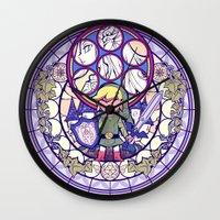 the legend of zelda Wall Clocks featuring The Legend Of Zelda by NicoleGrahamART