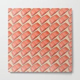 Salmon Fish Fillet Feast, Seafood on Peach Metal Print