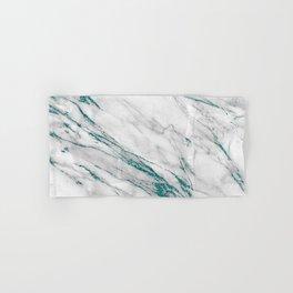 Gray Marble Aqua Teal Metallic Glitter Foil Style Hand & Bath Towel