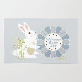 Welcome Baby Boy Bunny Rug