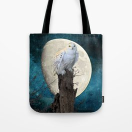 White Snowy Owl Bird Moon Blue A141 Tote Bag