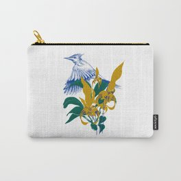 Midnight blooms - Asian paradise fly catcher bird Carry-All Pouch