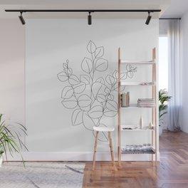 Minimalistic Eucalyptus  Line Art Wall Mural