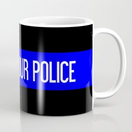 Support Our Police: Black U.S. Flag Coffee Mug